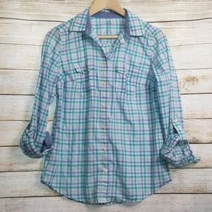 💄NWOT St JOHN'S BAY Checkered Button-up Blouse S
